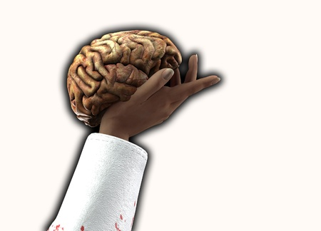 gory: Concept image of a person holding someones mind. Stock Photo