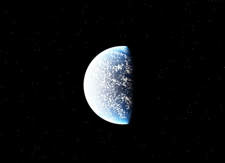vastness: A planet in the dark vastness of space.  Stock Photo
