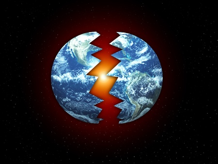 Concept image showing the Earth Split in two. photo