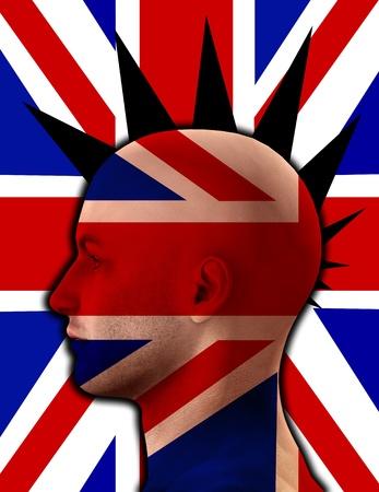 Close up profile image of a UK Punk. photo