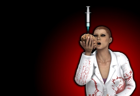 gruesome: Conceptual image showing a gruesome doctor holding a brain full of drugs.
