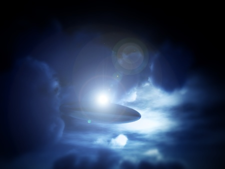 moonlit: A view of a UFO amongst some moonlit clouds.