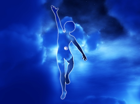 human potential: Conceptual image showing someone reaching for success.