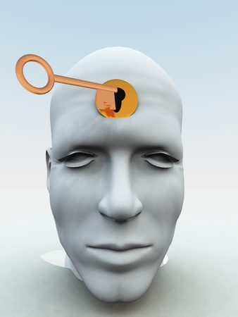 Concept showing a key about to unlock someones mind. Stock Photo - 10765550