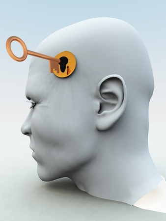 human potential: Concept showing a key about to unlock someones mind.
