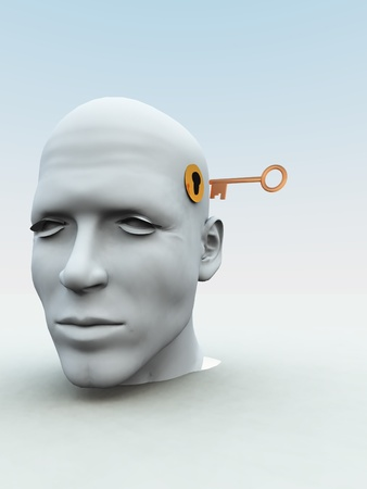 Concept met een sleutel op het punt om iemands geest te openen. Stockfoto