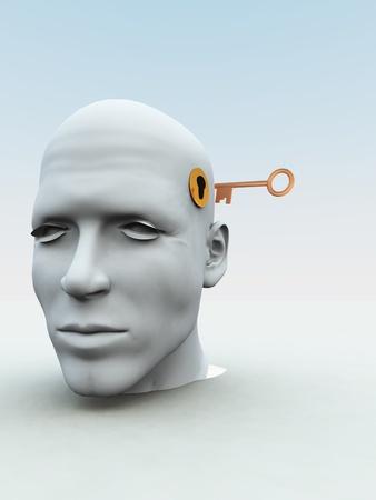 inspirerend: Concept met een sleutel op het punt om iemands geest te openen.