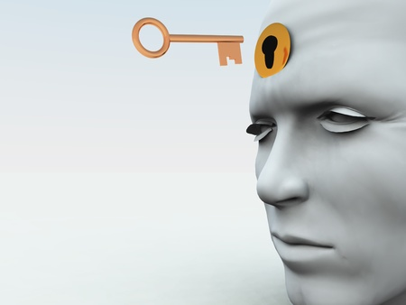 Concept showing a key about to unlock someones mind. photo