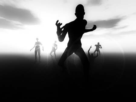 A horde of zombies heading for their next victim. Stock Photo