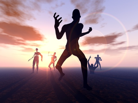 decompose: A horde of zombies heading for their next victim. Stock Photo