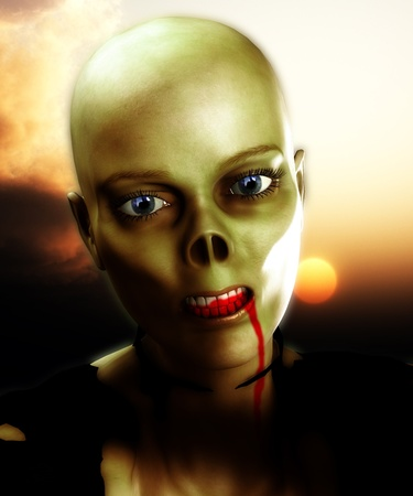 fester: Close up view of a bald zombie.