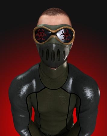 Man dressed in a biohazard suite for biohazard dangers. Stock Photo - 10835437