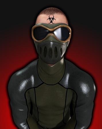 Man dressed in a biohazard suite for biohazard dangers. Stock Photo - 10835436
