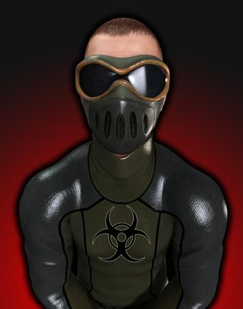Man dressed in a biohazard suite for biohazard dangers. Stock Photo - 10835440