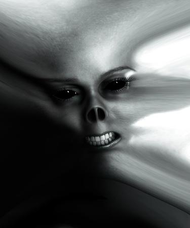 매우 왜곡 된 괴물 얼굴의 닫습니다. 스톡 콘텐츠
