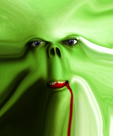 Close up of a very distorted monster face. Stock Photo - 10835419
