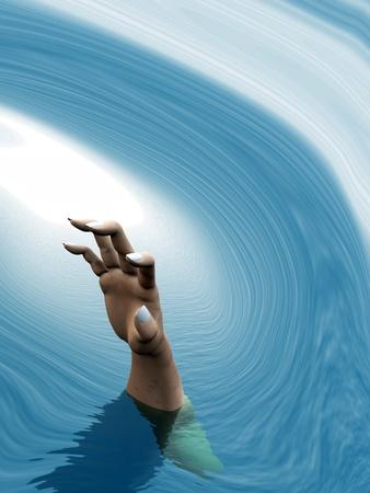 to drown: Ahogamiento mano de las personas llegando en un maremoto Foto de archivo