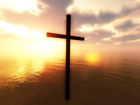 바다 위에 떠있는 예수님의 십자가를 보여주는 종교적인 개념 이미지.