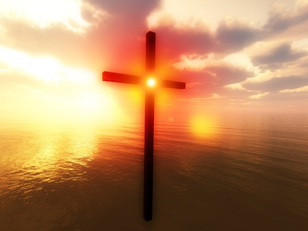 christian worship: Religious concept image showing the cross of Jesus floating over the sea.