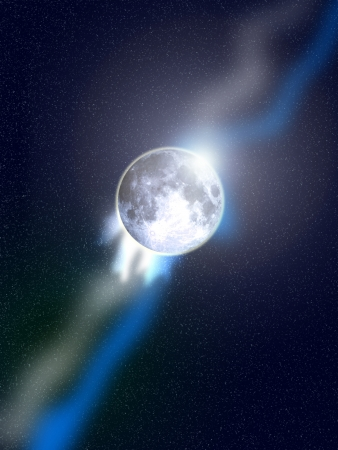 atmospheric: The moon in space with a atmospheric effect.