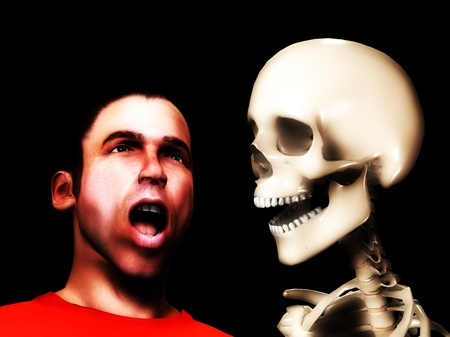 traumatized: Very scared looking man encountering a skeleton. Stock Photo