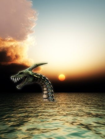 sea snake: Monstrous sea snake monster that is living in the sea.