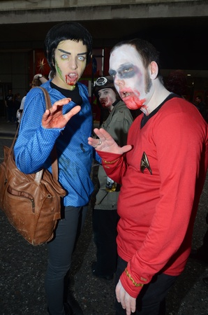 London - October 8: People Attending The Annual Zombie Walk London October 8th, 2011 in London, England.