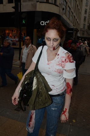 fester: London - October 8: People Attending The Annual Zombie Walk London October 8th, 2011 in London, England.