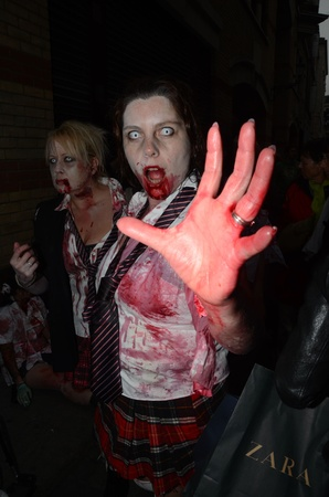 eventful: London - October 8: People Attending The Annual Zombie Walk London October 8th, 2011 in London, England.