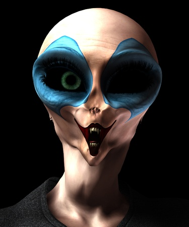 clownophobia:  A mixture of a vampire alien and a clown. Stock Photo