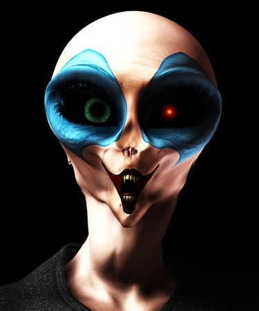 vengeful:  A mixture of a vampire alien and a clown. Stock Photo