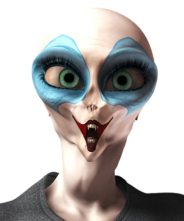 3d scary:  A mixture of a vampire alien and a clown. Stock Photo
