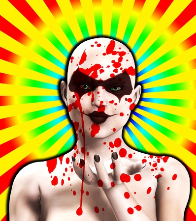 clownophobia: A female Psychopath covered in blood blowing a kiss. Stock Photo
