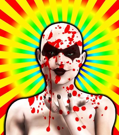 clownophobia: Un psic�pata mujer cubierta de sangre que sopla un beso.