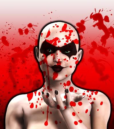 psychopathe: Un psychopathe femme couverte de sang soufflant un baiser.