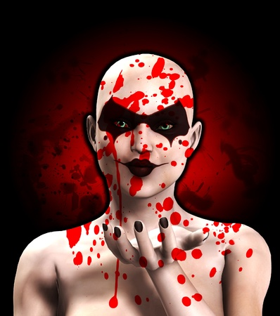 A female Psychopath covered in blood blowing a kiss. photo