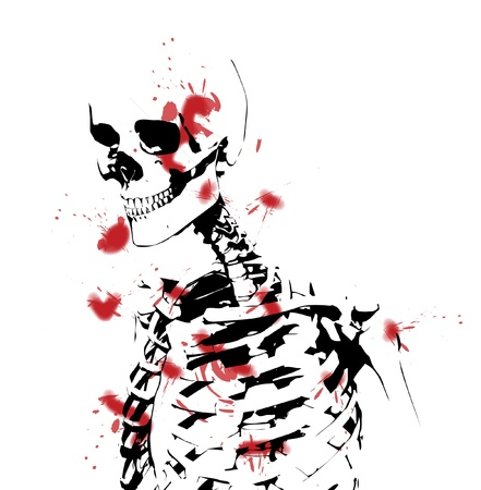 An illustrated black and white skeleton covered in blood. photo