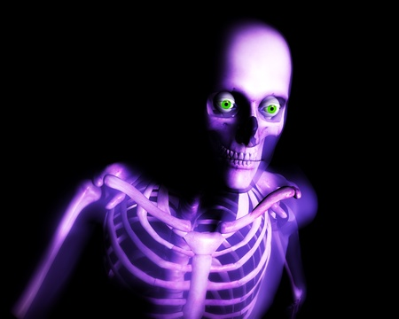 frightening: Close up view of semi transparent human skin with a skeleton underneath. Stock Photo