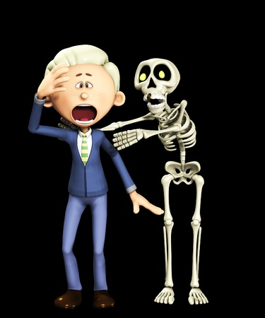disbelief:  Man being attacked by a skeleton for Halloween.