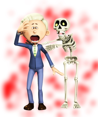 traumatized:  Man being attacked by a skeleton for Halloween.