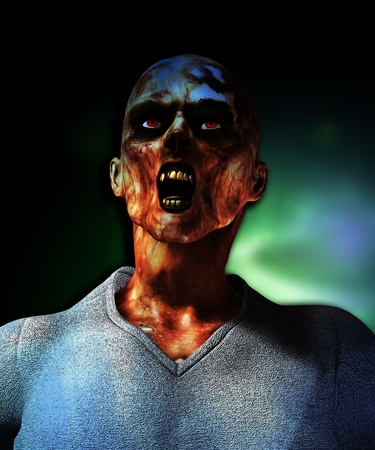 fester: Close up view of a screaming rotten zombie. Stock Photo