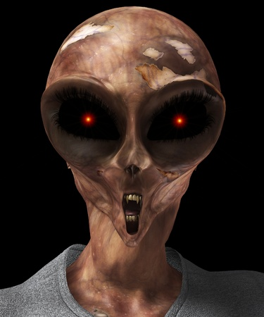 creepy alien: A mix of a zombie, alien and Vampire for Halloween. Stock Photo