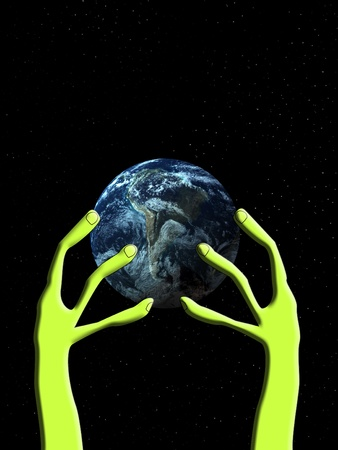 dominate: Conceptual image showing an alien hand that is grabbing the world.