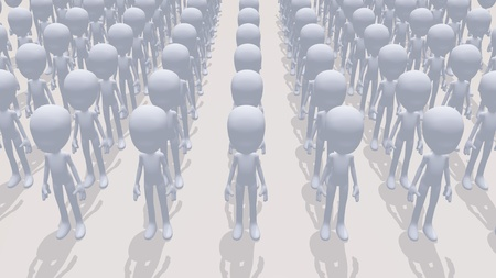 conform: Conceptual image showing a bunch of identical faceless drones.