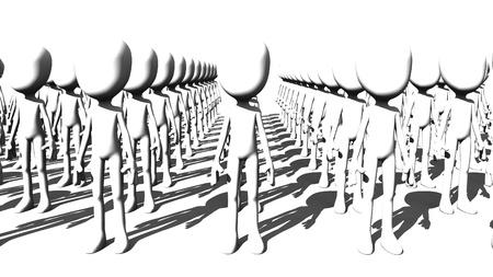 drones: Immagine concettuale che mostra un gruppo di droni identici senza volto.