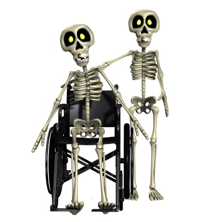 terrifying: A well skeleton helping out one that is disabled.