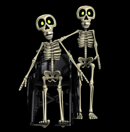 A well skeleton helping out one that is disabled. Stock Photo - 11227116