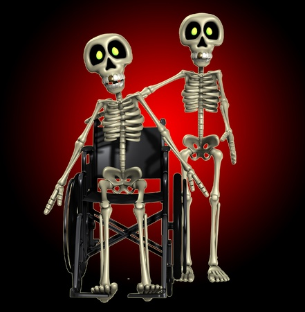 handicap: A well skeleton helping out one that is disabled.