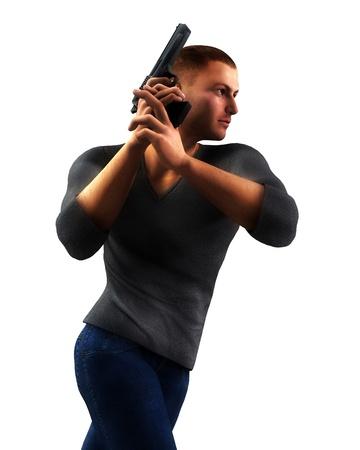 undercover: Un poliziotto sotto copertura che � in possesso di una pistola.