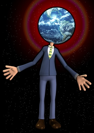 Person with the Earth for his head. Stock Photo - 11399772